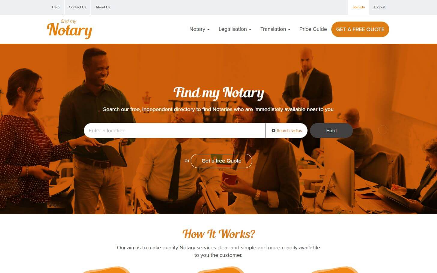 Find My Notary website home page